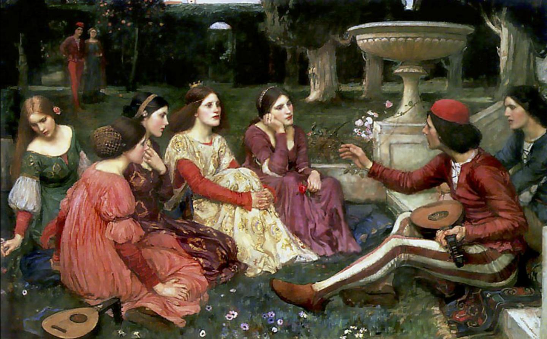 """""""Opowieść zDekameronu"""" (1916) pędzla J. W. Waterhouse'a."""