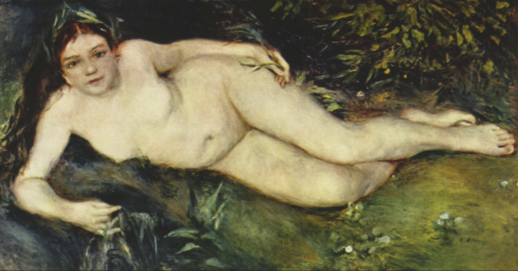Pierre-Auguste Renoir. A nymph by a Stream, 1869-1870. The National Gallery, London.