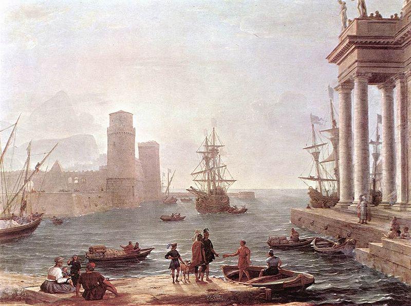 Claude Lorrain, Scena portowa zUlissesem odpływającym zkraju Feaków (1646), Luwr