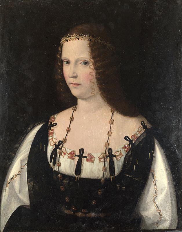 Obraz Bartolomea Veneto przedstawiający prawdopodobnie Lukrecję Borgię