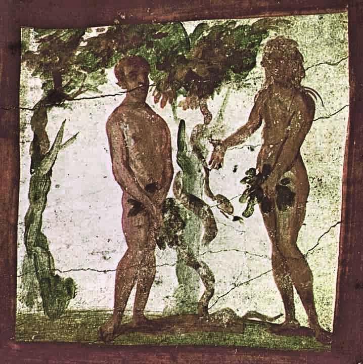 Adam iEwa, fresk zkatakumb Piotra iMarcelina wRzymie, IV w.