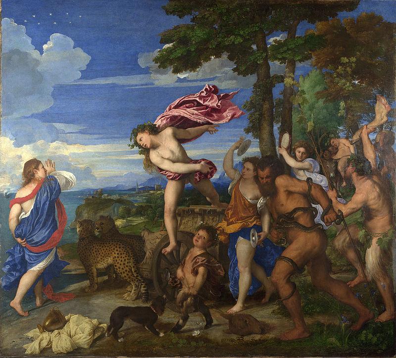 Tycjan zastosował ultramarynę podczas malowania obrazu Bachus iAriadna