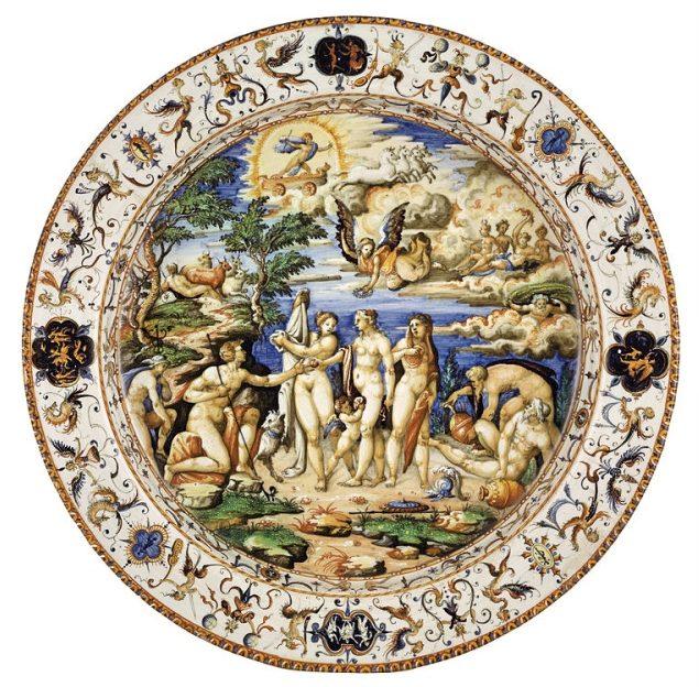 """""""Sąd Parysa"""" – przykład stylu istoriato; talerz zpracowni Orazia Fontany"""