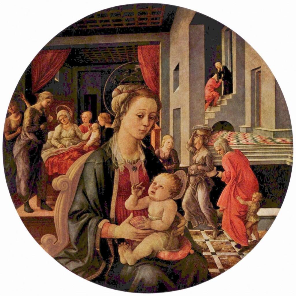 Filippo Lippi, Madonna zDzieciątkiem isceny zżycia św. Anny, 1492 r.