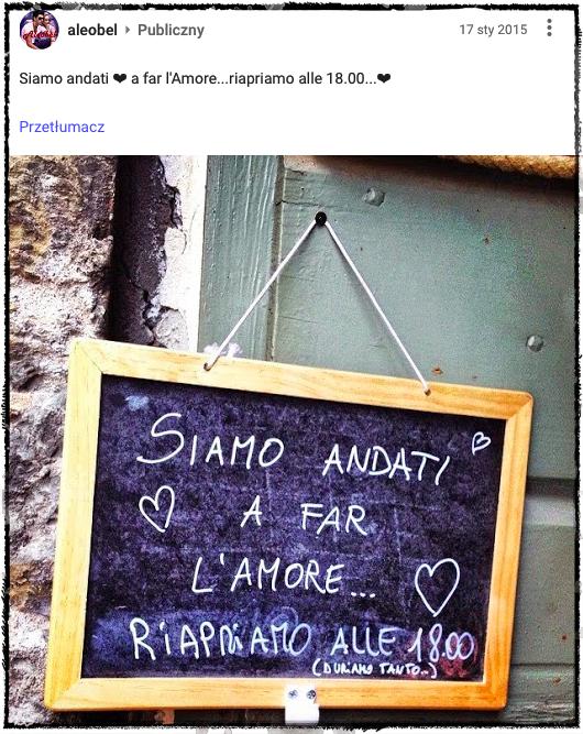 """""""Poszliśmy się kochać, otwieramy ponownie o18:00"""". Fot.: Instagram"""