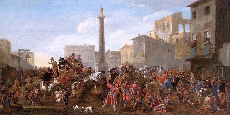 Jan Miel, Karnawał na Piazza Colonna wRzymie