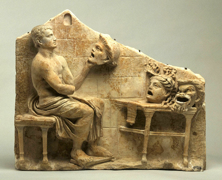Relief of a seated poet (Menander) with masks of New Comedy, 1st century B.C. – early 1st century A.D. White marble, probably Italian h. 48.5 cm., w. 59.5 cm., d. 8.5 cm. (17 7/16 x 23 7/16 x 3 3/8 in.) Museum purchase, Caroline G. Mather Fund y1951-1 - the masks show three of his canonical New Comedy characters: youth, false maiden, old man. Collection of Princeton Art Museum