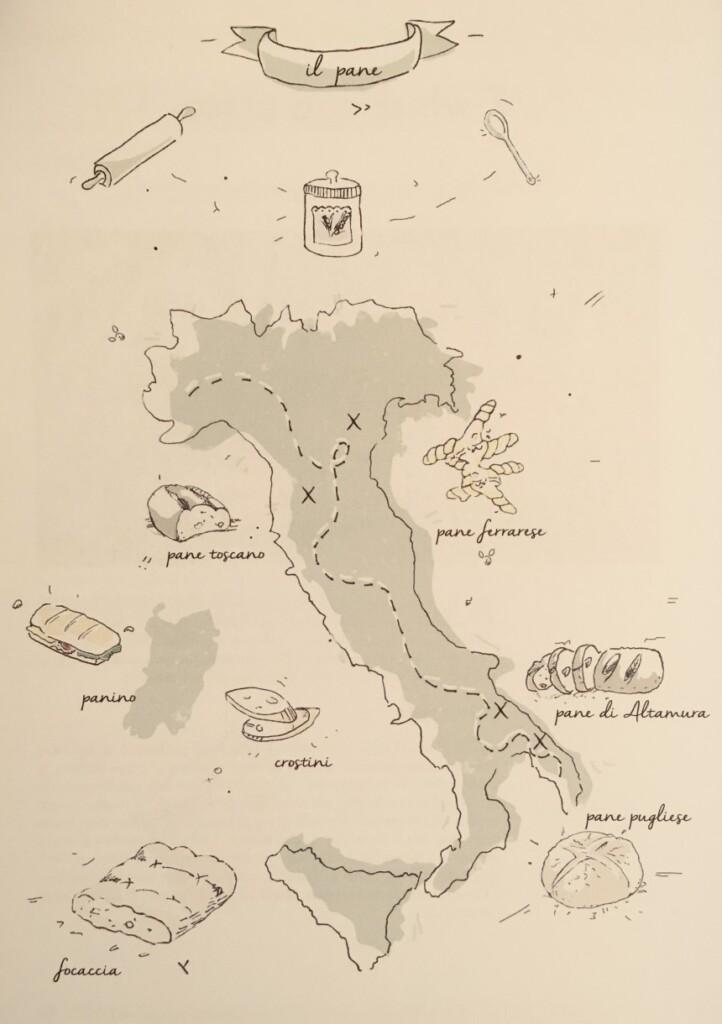 """Rodzaje włoskiego chleba. Ilustracja: Magdalena Barganowska dla """"La Rivisty"""""""