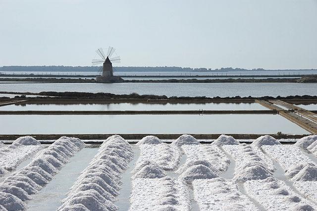 Na Sycylii wciąż produkuje się sól morską wsztucznych basenach solankowych wpobliżu Trapani, gdzie pierwsze warzelnie soli zakładali Fenicjanie, aprodukcja soli znana jest od VIII wp.n.e.
