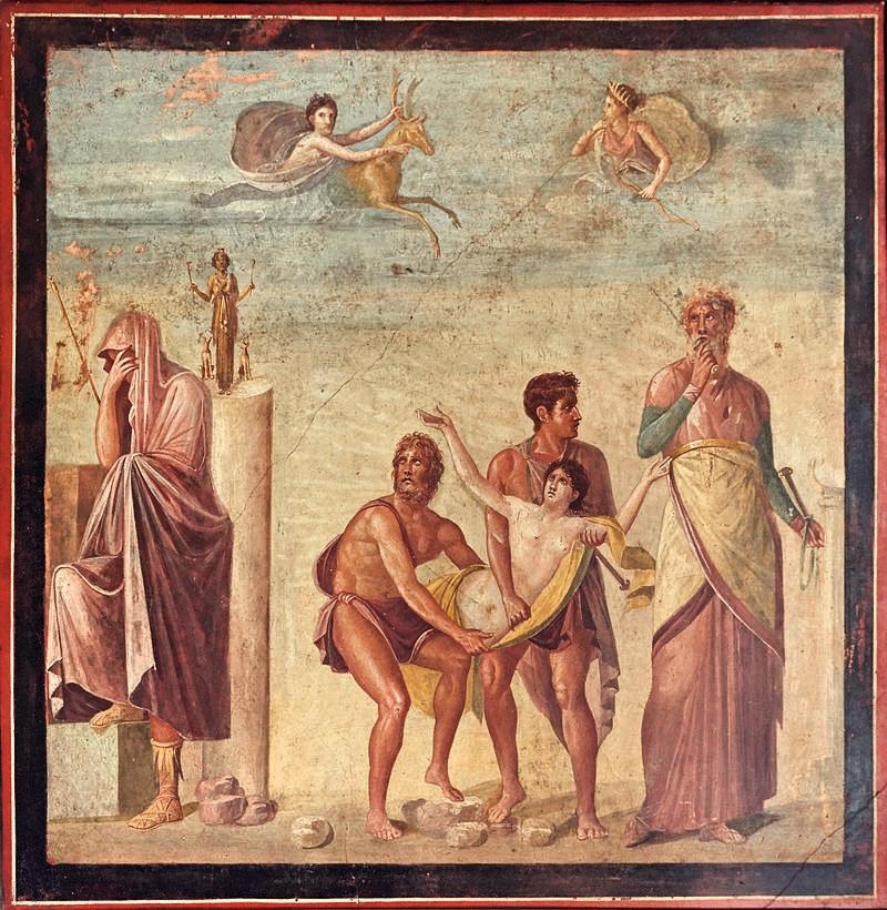 Jedno zmalowideł, dziś wMuzeum Archeologicznym wNeapolu. Przedstawia ofiarowanie Ifigenii