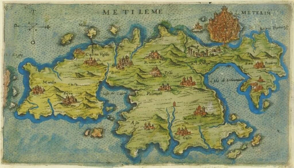 Szesnastowieczna mapa Lesbos autorstwa Giacomo Franca