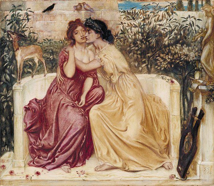 Simeon Solomon, Safona iErinna wogrodzie wMitylenie, 1864