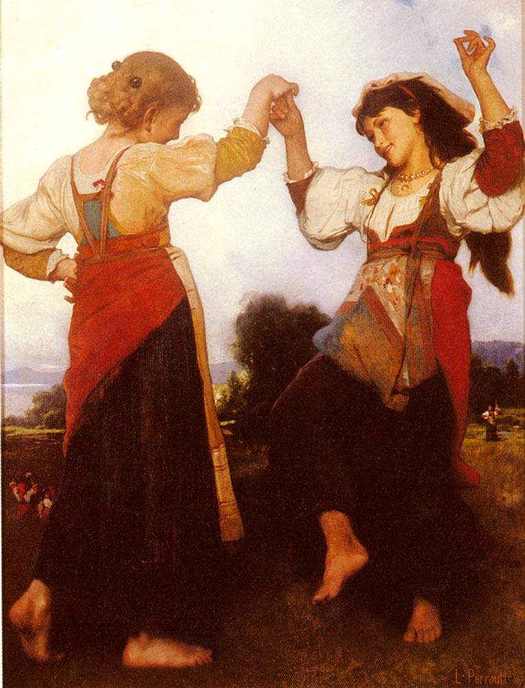 """Tarantellę zGargano tańczy się znieodłącznymi kastanietami wdłoniach. Ręce wykonują naprzemienne ruchy wgórę iw dół, wtakt muzyki ikroków. Dość często taniec wykonują same panie – wrozkloszowanych sukniach lub spódnicach – niekiedy solo, niekiedy wparach lub większych grupach. Jeśli zaś tańczy dwóch mężczyzn, ich taniec przypomina nieco pojedynek. Gdy taniec wykonuje solo kobieta, zwykle wpewnym momencie dołącza do niej mężczyzna. Bez przerwy wystukując rytm na kastanietach, oboje tańczą po obwodzie koła, niekiedy do siebie przyskakują, tańczą naprzeciw siebie, zabawnie się droczą iniemal się ocierają, jakby wtańcu godowym. Bowiem Tarantella del Gargano ma wsobie mniej ztańca terapeutycznego, aznacznie więcej ztańca zakochanych. Powyżej: """"Tarantella Dancers"""" (Cooper Hewitt, Smithsonian Design Museum)"""