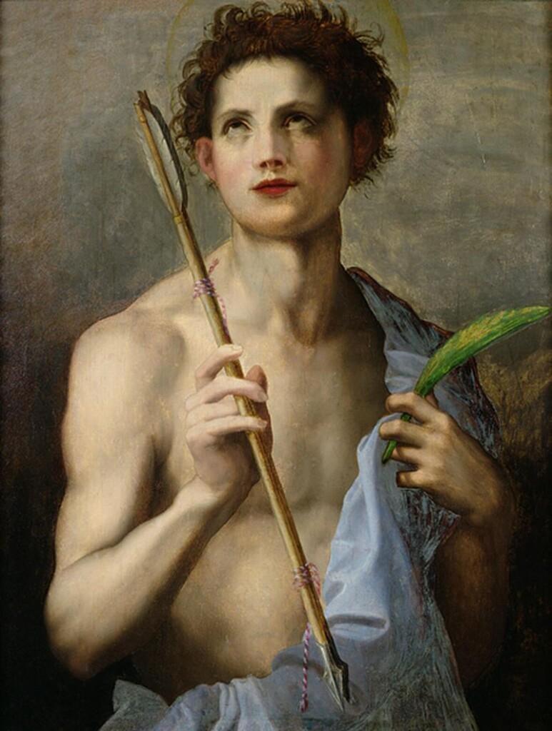 Święty Sebastian pędzla Andrei Del Sarto – męczennik trzyma wdłoni gałąź palmową