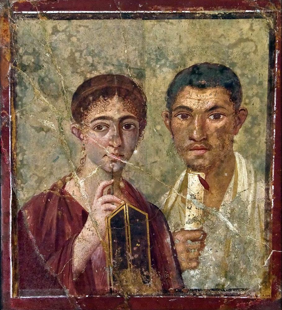 Portret Pakwiusa Prokulusa ijego żony zDomu Pansy wPompejach, obecnie wMuzeum Archeologicznym wNeapolu