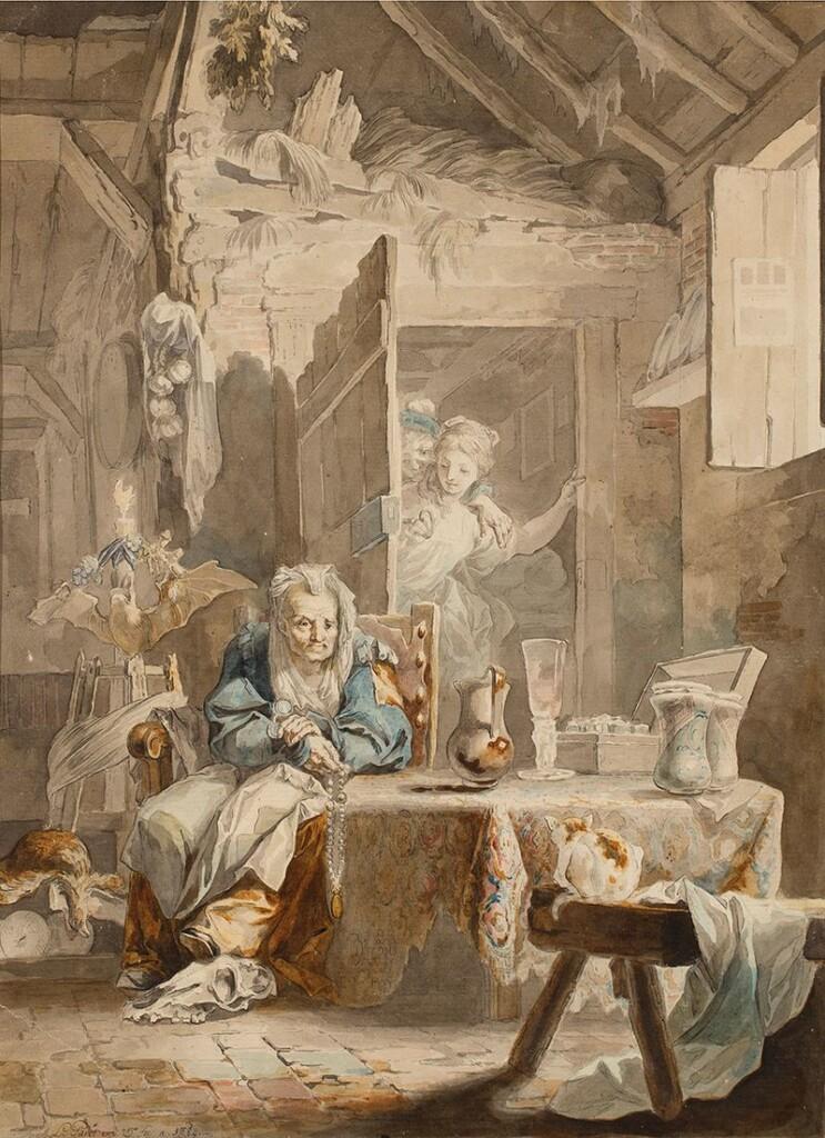 La Celestina ylos enamorados pędzla rokokowego malarza hiszpańskiego Luisa Paret yAlcázar