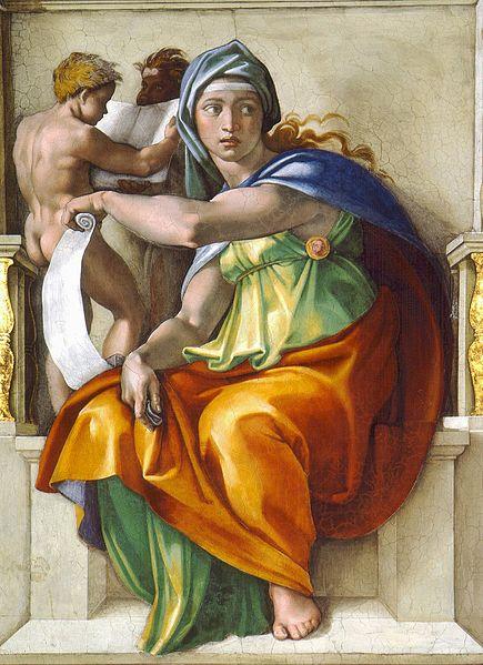 Najsłynniejszy bodaj wizerunek Pytii to zatroskana młoda dziewczyna oładnej, delikatnej buzi. Namalował ją ponad 500 lat temu Michał Anioł na sklepieniu Kaplicy Sykstyńskiej. Jest najpiękniejszą inajmłodszą zpięciu Sybilli, czyli jasnowidzących, które artysta umieścił wbocznych partiach fresku. Jej cztery towarzyszki to Sybille Perska, Kumańska, Erytrejska iLibijska. Żadna znich nie jest wstanie szału. Tak je widział renesansowy mistrz.