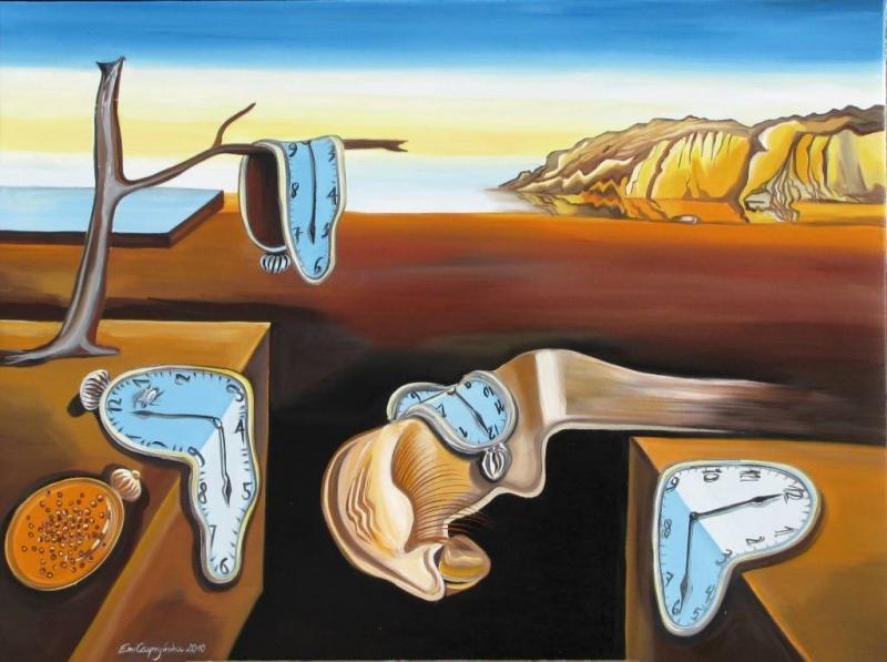 """Surrealizm rozwinął się wlatach dwudziestych we Francji – w1924 r. André Breton napisał Manifest surrealizmu. Malarze znajdujący się pod jego wpływem tworzyli obrazy przedstawiające rzeczywistość wyjętą ze snu, gdzie logika ustępuje miejsca fantazji, halucynacji. Dla surrealistów realny świat nie jest wart wiary, którą wnim pokładamy; przedkładają nad niego czas snu, gdy pole do popisu ma rozum nieracjonalny, nieokiełznany iekstremalnie twórczy. Salvador Dalí doskonale odnalazł się wsurrealistycznej estetyce ifilozofii. Ba, stał się """"papieżem surrealizmu""""."""