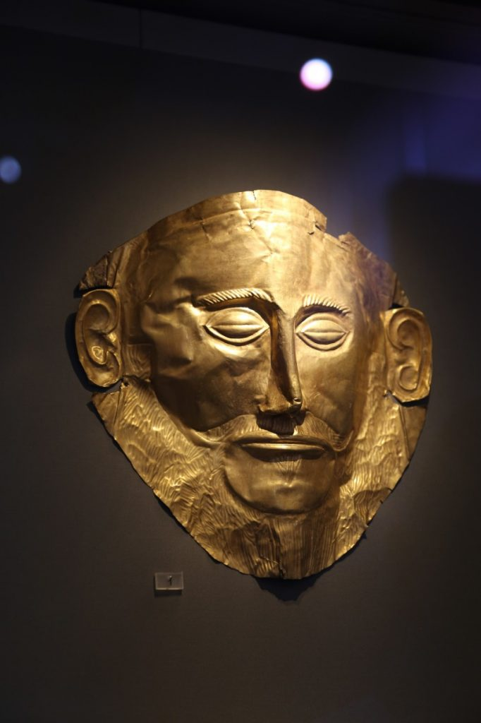 Tzw. Maska Agamemnona, 1500 r. p.n.e. Mykeny, Muzeum Archeologiczne wAtenach