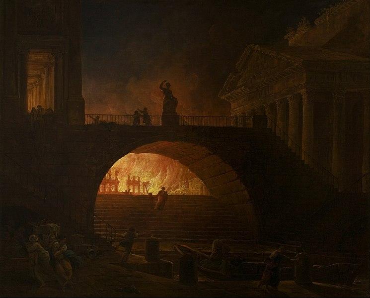W roku 64 n.e. wRzymie wybuchł wielki pożar, który odebrany został przez mieszkańców Miasta jako wyraz gniewu Wulkana. Pożar trwał sześć dni. Większość dzielnic Rzymu została całkowicie zniszczona. Gdy wreszcie ugaszono płomienie, okazało się, że tylko cztery dzielnice pozostały nietknięte, wtym również... świątynia Wulkana.