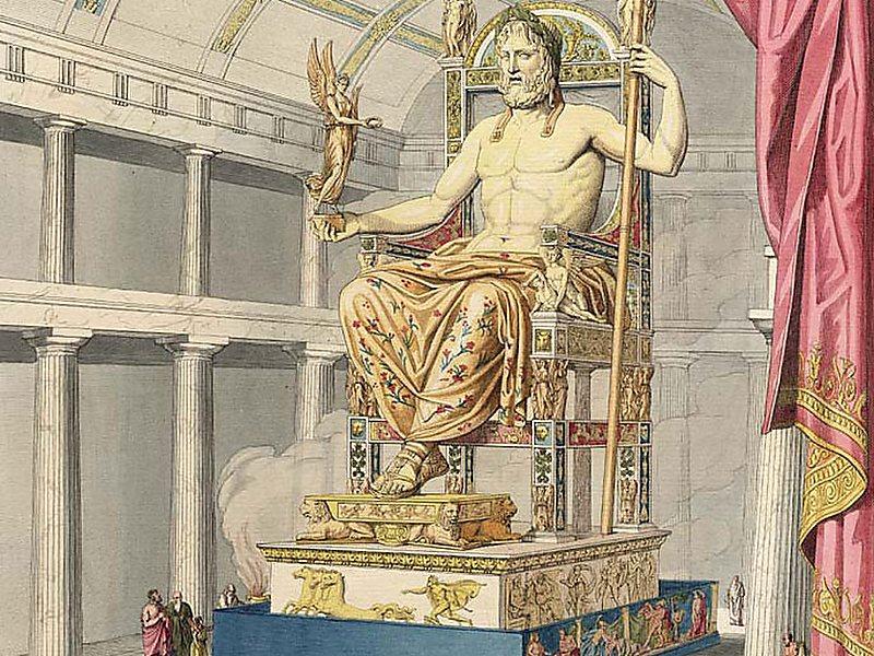 Wyobrażenie posągu Zeusa wOlimpii