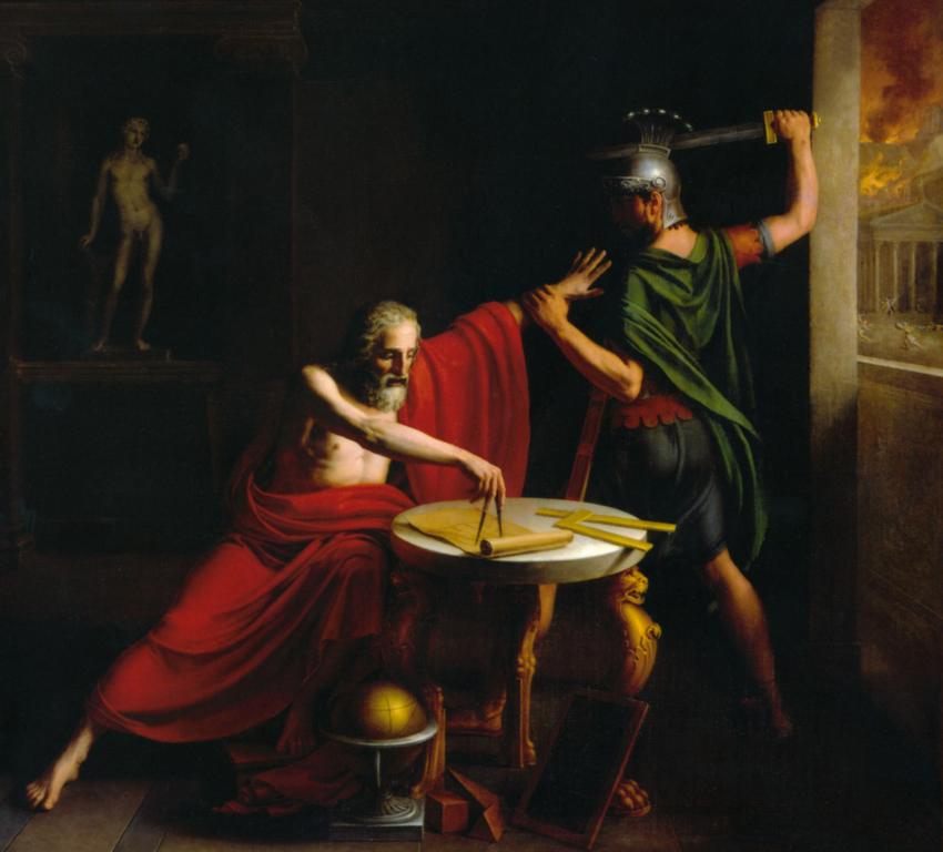 Śmierć Archimedesa namalowana przez Thomasa Degeorge'a (1815).