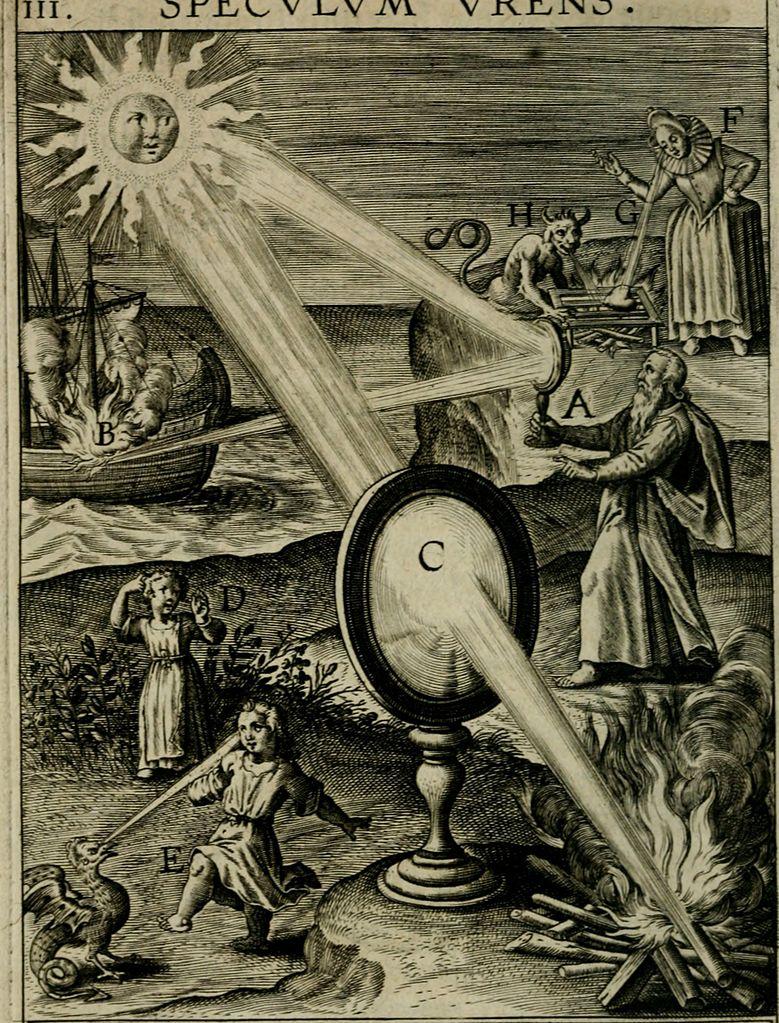W roku 1973 grecki naukowiec, doktor Ioannis Sakkas, przeprowadził eksperyment przy użyciu siedemdziesięciu parabolicznych luster, które skupił na makiecie rzymskiego statku. Zwierciadła znajdowały się wrękach marynarzy, którzy musieli ustawić je wtaki sposób, aby wiązka światła padała na makietę oddaloną o160 stóp. Łódź została podpalona dość szybko, choć zaznacza się, że była ona pokryta wysoce łatwopalną farbą.