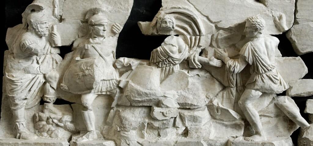 Żólnierze sabińscy iTarpeja (fryz zBasilica Aemilia wRzymie)