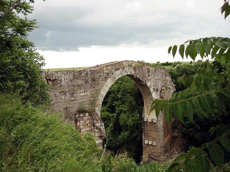 Umiejętność wznoszenia mostów przekazali Rzymianom, wramach kulturowego dziedzictwa, inni wielcy budowniczowie iinżynierowie antyku, Etruskowie. Budowali je zkamienia, scalali za pomocą cementu iżelaznych sztab, apowierzchnię wykładali kamiennymi blokami. Mosty te zreguły miały od 3 do 20 metrów szerokości, aich boki zabezpieczano kamienną balustradą. Co ciekawe, większość mostów posiadała wytyczoną część dla ruchu kołowego (iter) oraz chodniki dla pieszych (decursoria). Na zdjęciu: most etruski wVulci