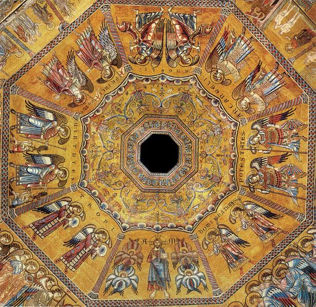 Wspaniałe mozaiki zbaptysterium we Florencji przedstawiają serafinów przy pracy.
