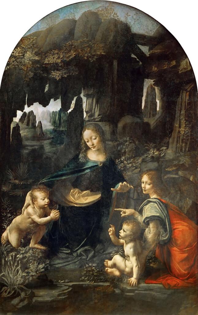 Archanioł Uriel (z prawej) oraz Madonna wśród skał Leonarda Da Vinci