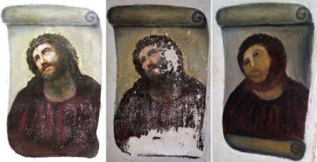 Ecce homo po renowacji nazywany Jezusem-jeżem