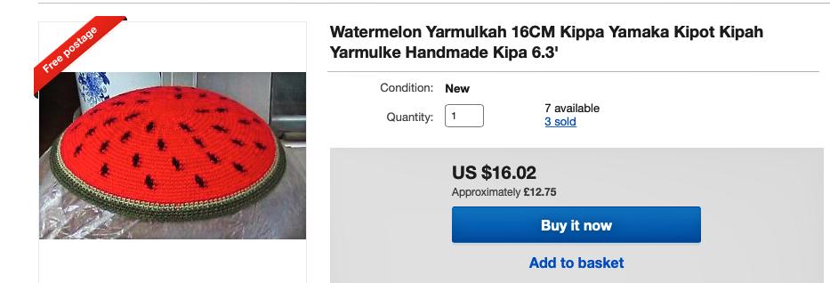 Kipa wkształcie plastra arbuza? Dlaczego nie! Na zdjęciu zrzut ekranu zplatformy Ebay