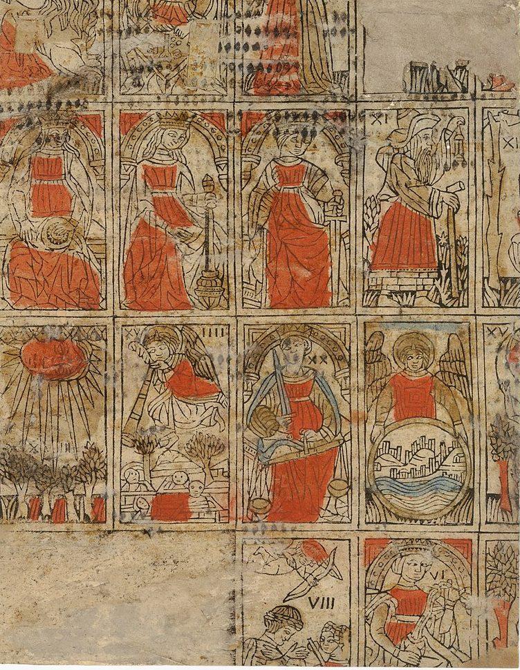 Karta zsymbolami tarota pochodząca zFerrary we Włoszech, ok. 1500 r.