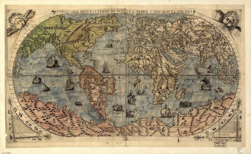 Mapa świata autorstwa Fernanda Bertellego zwizerunkami potworów, 1565