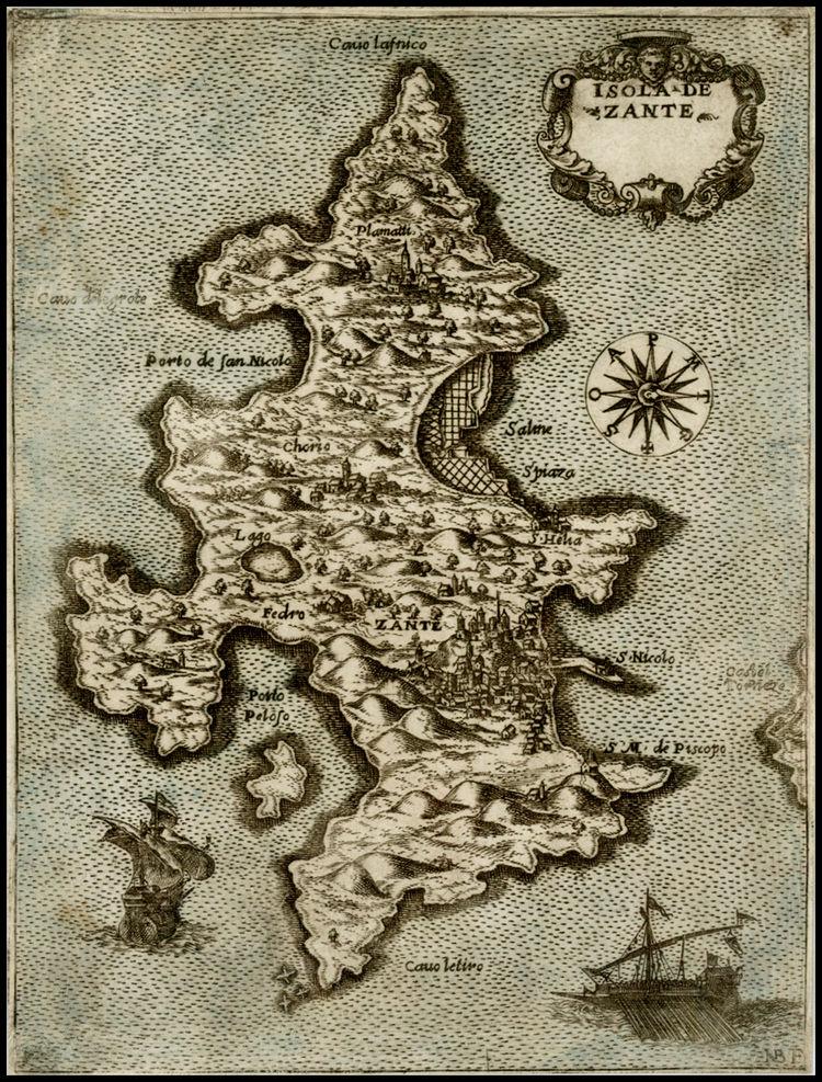 Mapa wyspy Zakintos autorstwa Donata Bertellego, 1574, Wikimedia Commons, CC BY-SA 4.0