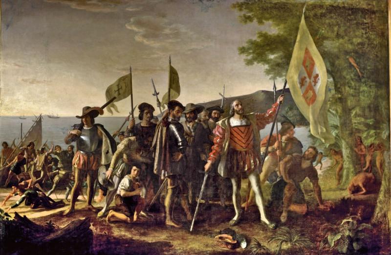 XIX– wieczny obraz Johna Vanderlyna ukazujący przybycie Kolumba do Ameryki. Warto przypomnieć, że palma pierwszeństwa nie do końca się Kolumbowi należy.