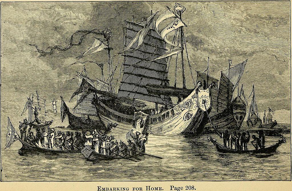 XIX-wieczna rycina przedstawiająca podróże Marca Polo