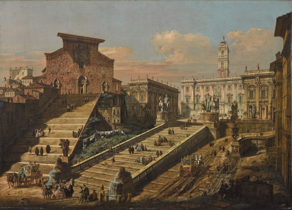 Obraz Bernarda Bellotta zw. Canalettem Widok Kapitolu zkościołem Santa Maria in Aracoeli