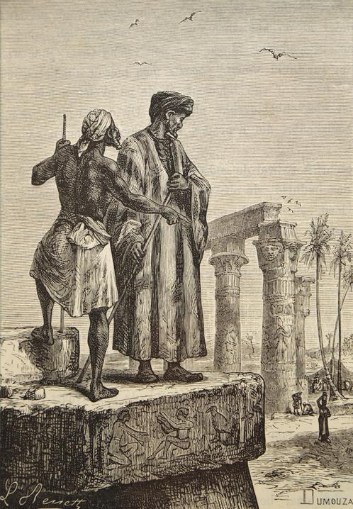 Ilustracja autorstwa L. Benetta pokazująca Ibn Battutę ijego przewodnika wEgipcie (1878)