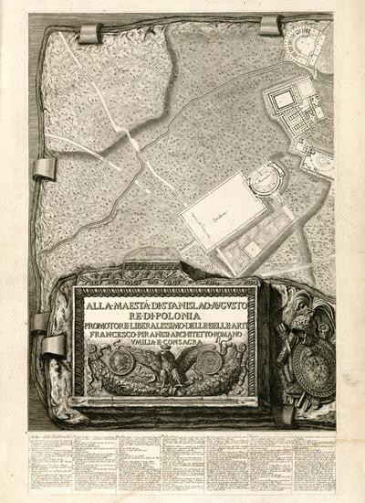 Francesco Piranesi, Fragment planu Willi Hadriana zdedykacją dla polskiego króla Stanisława Augusta, 1781