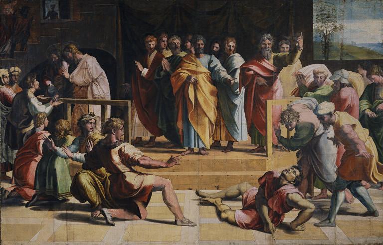 Śmierć Ananiasza – karton Rafaela ze zbiorów Victoria and Albert Museum