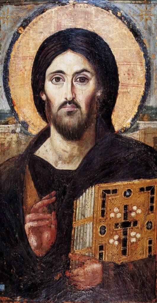 Chrystus Pantokrator – najstarsza ikona tego typu pochodząca zVI w. n.e. (Klasztor Św. Katarzyny, Synaj)