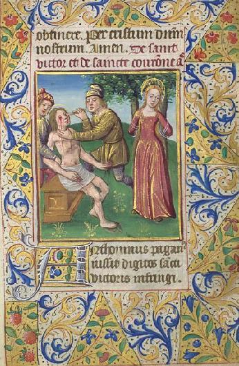 """Ilistracja z""""Liturgii godzin"""" (Paryż, ok. 1480) przestawiająca męczenników Wiktora iKoronę"""