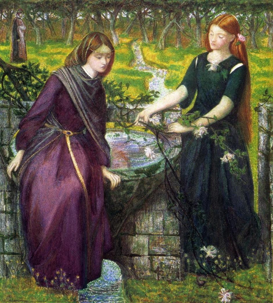 Lea iRachela, żony Jakuba –obraz Dantego Gabriela Rossetti, angielskiego malarza włoskiego pochodzenia (XIX w.)