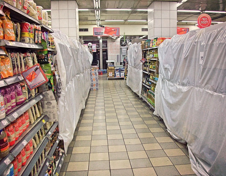 Typowy widok wizraelskim supermarkecie przed Pesach, fot. Daniel Case / Wikimedia,