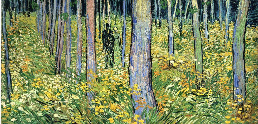 Obraz Van Gogha Undergrowth with two figures pokazuje narcyzy ww prowansalskim Saint-Rémy (1890)