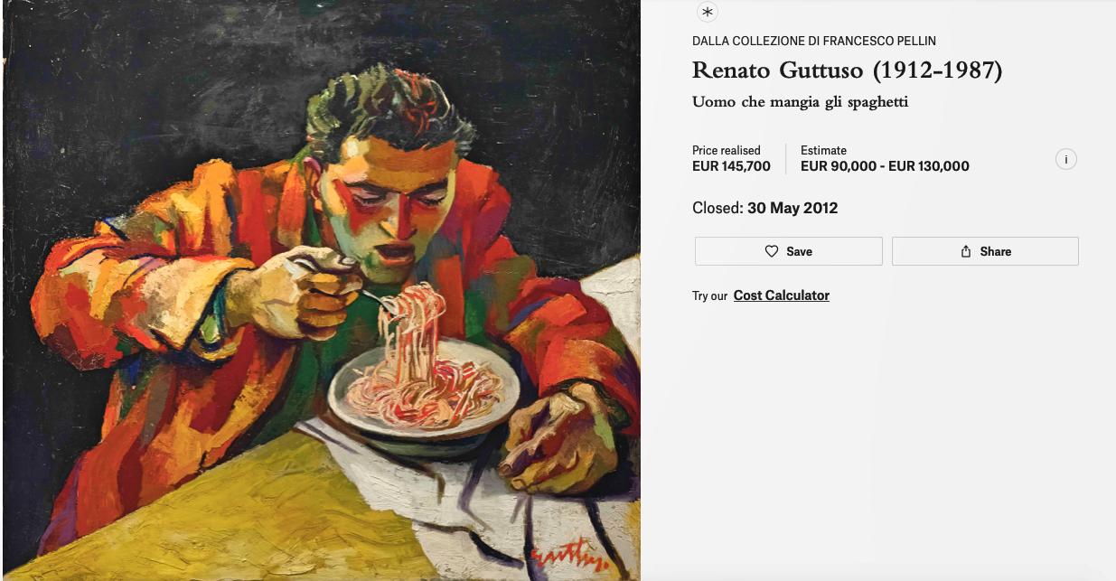 Obrazy Guttusa osiągają wysokie ceny na aukcjach. Powyżej Człowiek jedzący spaghetti sprzedany za ponad 145.000 euro przez dom Christie's