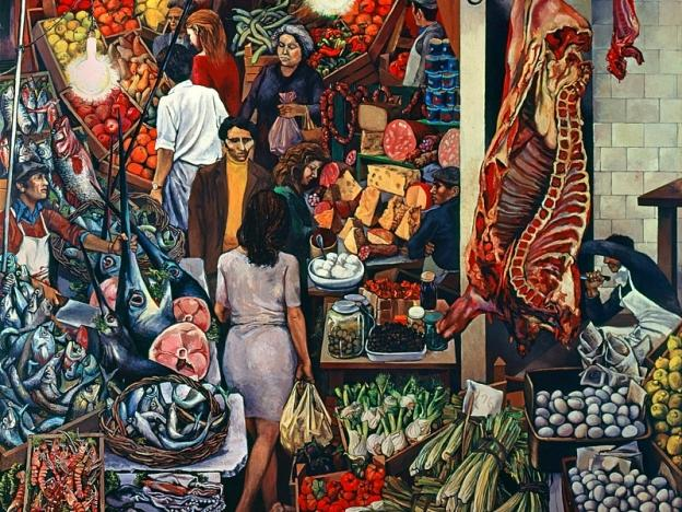 Obraz Vucciria powstał wlatach '70, kiedy artysta mieszkał wLombardii, jednak palermitańskie targowisko fascynowało go od dawna. Po raz pierwszy zachwycił się nim wlatach '30, gdy przybył do Palermo na studia zrodzinnej Bagherii