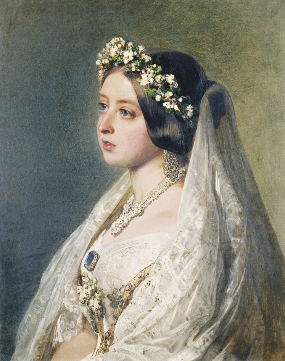Portret królowej Wiktorii pokazanej przez Franza Xavera Winterhaltera ww mirtowym wianku ślubnym (Royal Collection Trust / © Her Majesty Queen Elizabeth II 2021